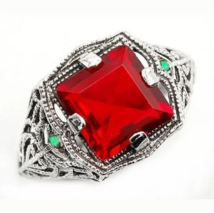 GORG! Deco Style Filigree Ruby Aussie Opal Ring